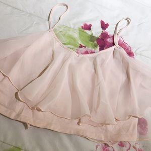 Hollister Chiffon Ruffle Crop Tank Top Pink L